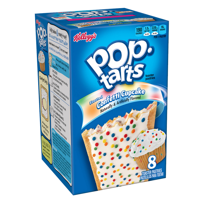Kellogg's pop tarts Toaster pastries, kellogg, frosted strawberry 1 pastry calories grams carbs grams fat grams protein grams fiber 0 mg cholesterol grams saturated fat mg sodium grams sugar grams trans fat.